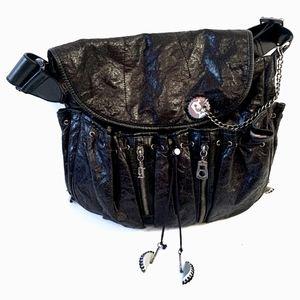 GALLIANO Black Leather Hobo Bag w/ Unique Strap